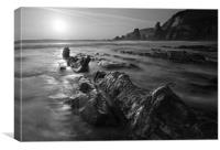 Westcombe Beach Black and White, Canvas Print