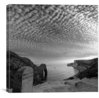 Durdle and the Clouds, Black and White., Canvas Print