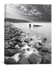 Bossington Groynes Mono, Canvas Print