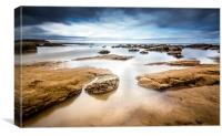 Incoming Tide at North Beach, Scarborough, England, Canvas Print