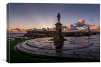 Captain Cook Statue Whitby Harbour in Yorkshire, Canvas Print