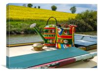Watering cans on a narrow boat., Canvas Print