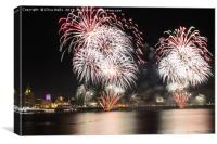 Fireworks over the River Mersey, Canvas Print