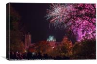 Fireworks over Ely Cathederal, Canvas Print