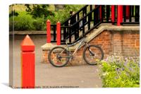 Bike on a wall, Canvas Print