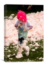 Boy in pink wig, Canvas Print