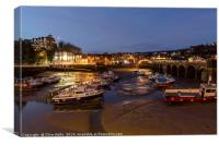 Folkstones inner harbour at night, Canvas Print