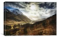 Sunshine on Glen Etive., Canvas Print