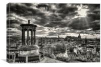 The Edinburgh skyline, and Dugald Stewart Monument, Canvas Print