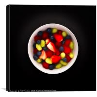 Still life of a bowl of fresh fruit salad., Canvas Print