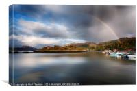 Storm clouds and rainbows over Plockton , Canvas Print