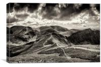 Dramatic view from the top of Grisedale Pike, Canvas Print