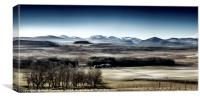 The misty Cairngorm Mountains from the Snow Road, Canvas Print