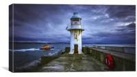 Life rescue lighthouse at dawn, Canvas Print