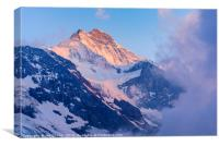 Evening light and mist on the Jungfrau, Canvas Print