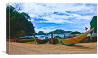 Longboats moored for the day, Canvas Print