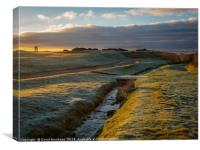 Frosty 1st Green at Shiskine, Canvas Print