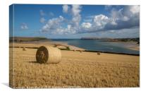 Harvest Time Overlooking The Camel Estuary, Canvas Print