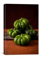 Green Peppers on Green Marble Slab 2, Canvas Print