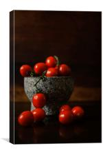 Tomatoes on the Branch in Stone Bowl, Canvas Print