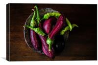 Hot Peppers and Aubergines, Canvas Print
