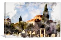 Fethiye Mosque In Athens Digital Watercolour, Canvas Print