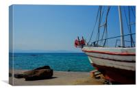 Old Fishing Boat in Aegina Harbour, Canvas Print