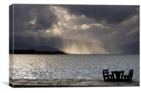Empty picnic table in Herand, Canvas Print