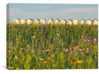 Wildflowers and beach huts, Canvas Print