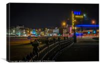 Welcome to Margate seafront by night, Canvas Print