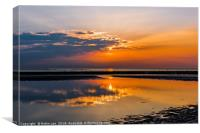 Sunset over sea at Margate, Canvas Print