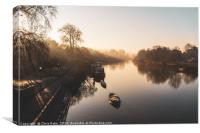 Thames riverside on a foggy morning in Richmond, Canvas Print