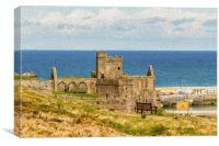 Peel Castle, Isle of Man with Oil Painting FIlter, Canvas Print