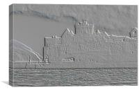 Peel Castle, Isle of Man with Emboss Filter, Canvas Print