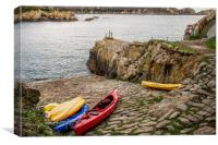 Kayaks at Saints Bay Harbour, Guernsey., Canvas Print