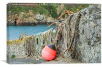 Anchors, rope and a buoy at the ready ! On Saints , Canvas Print