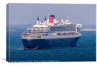 "Cruise Liner ""Queen Mary 2"" anchored in the Little, Canvas Print"
