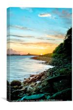 Sunset over Le Grand Havre, Guernsey., Canvas Print