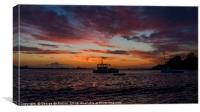 Sunset over a fishing boat in Guernsey, Canvas Print