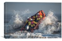 To the rescue - an RNLI inshore lifeboat launches , Canvas Print