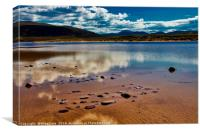Clouds reflected on a shallow loch, near Kearvaig,, Canvas Print