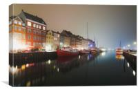Foggy evening in Nyhavn canal, Canvas Print