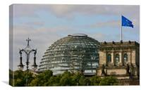 German Reichstag building and Dome in Berlin, Canvas Print