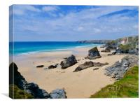 Messages in the sand at Bedruthan Steps, Cornwall, Canvas Print