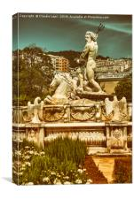The Fountain of Neptune -  City background, Canvas Print