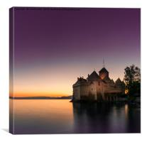 Sunset At Chillon, Canvas Print