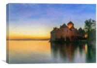 Chillon Sunset in Oil, Canvas Print