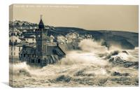 large storm at Porthleven cornwall, Canvas Print