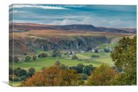 Holwick, Upper Teesdale from Middle Side in Autumn, Canvas Print
