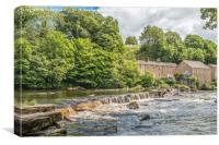 The River Tees and Demenses Mill, Barnard Castle, Canvas Print